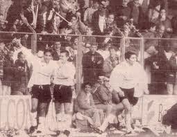Barbará celebrando un gol con Quiroga y Quico en el Helmántico