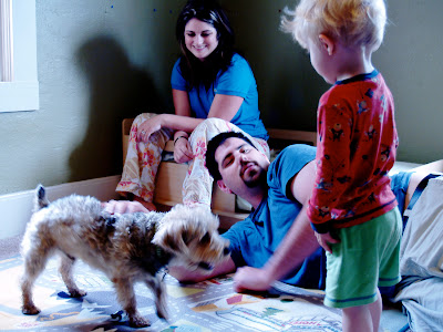 Uncle Nate, Aunt Amanda and Their Gray Dog