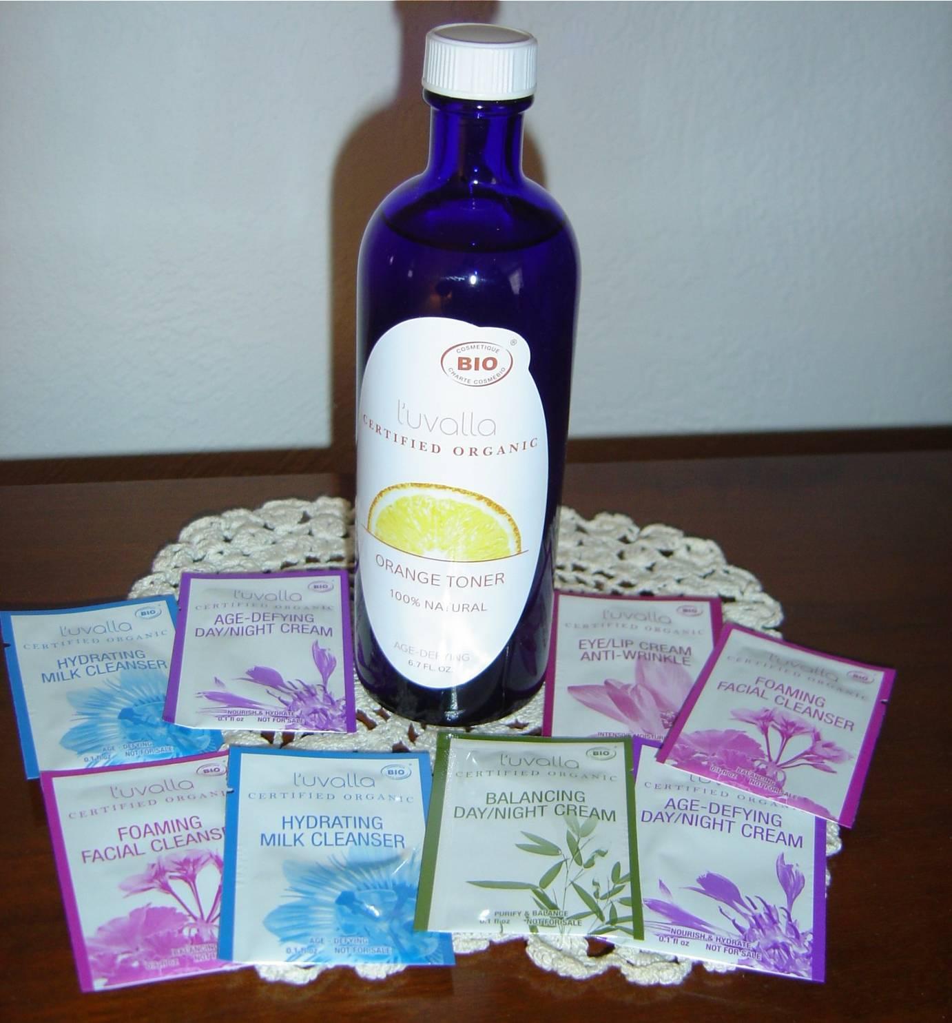 L'uvalla Certified Organic Skin Care toner and samples