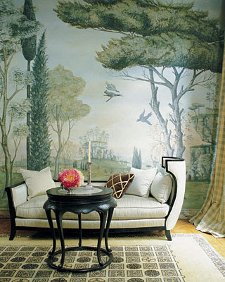 Rose Anne de Pampelonne livingroom with mural and settee via belle vivir blog