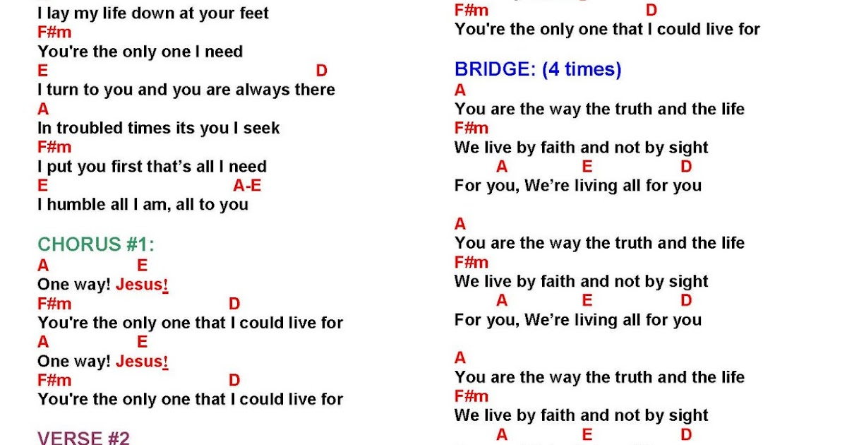 ONE WAY - music and lyrics ~ Faith and Music