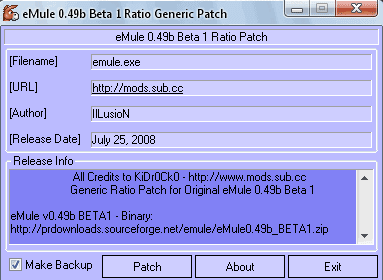 eMule v0.49b BETA1 Ratio Remover Patch Generic