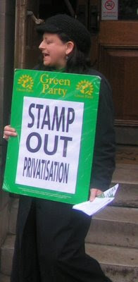 UK Green Party member campaigning against postal privatisation