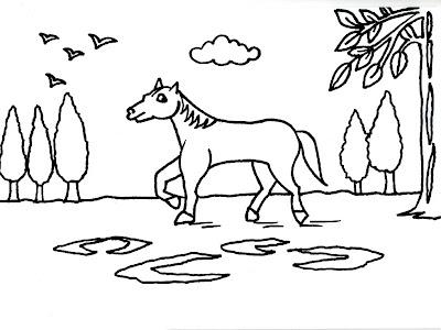Dibujo gratis para imprimir y colorear de caballos