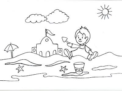 Dibujos gratis para imprimir y colorear de jugando en la playa 圖片 ...