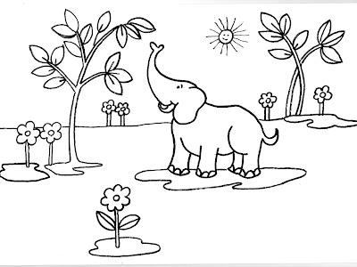 Dibujos gratis para imprimir y colorear de elefantes 圖片, 上色
