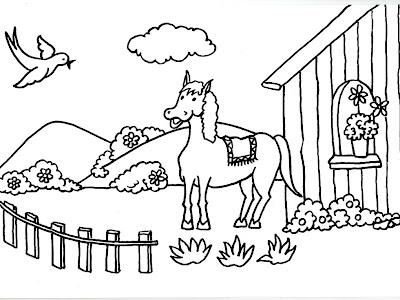 Worksheet. Dibujo gratis para imprimir y colorear de caballos