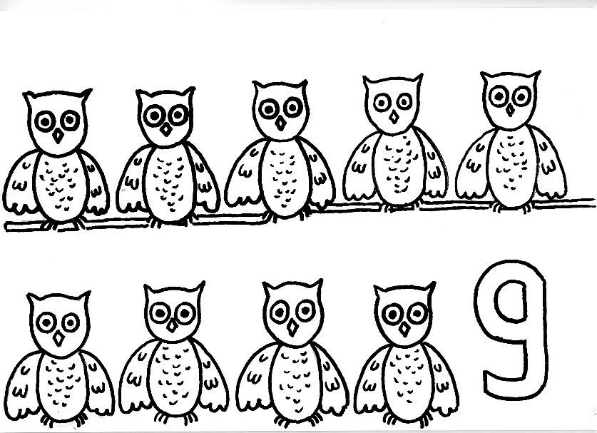 Numero 13 Para Colorear: Dibujos De Los Numeros: Mira Cuantas Lechuzas Con El