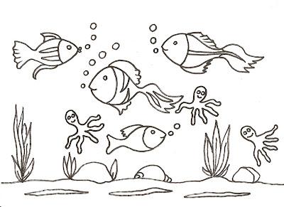 Dibujo para colorear de peces en el mar!!!