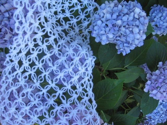 Di lana cotta uncinetto un punto molto traforato - Fiore collegare i punti ...