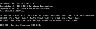 Network Plumbing: PXE-E55: ProxyDHCP service did not reply to