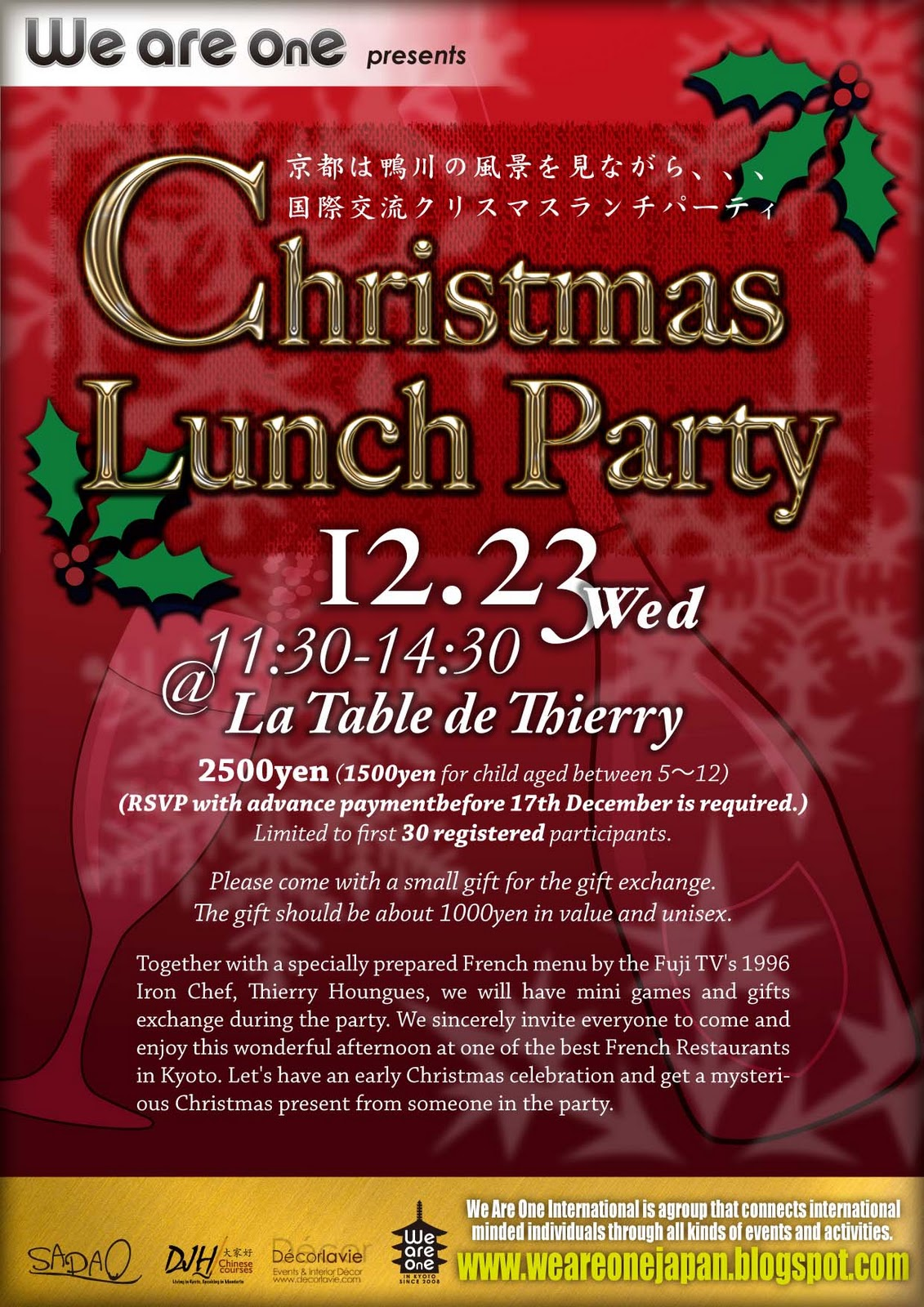 We Are One Japan Christmas Lunch Party At La Table De Thierry