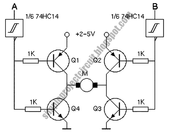 Simple Project Circuit: Simple 4-Transistor H-Bridge