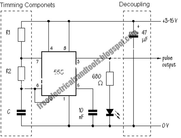 Free Schematic Diagram: Astable Circuit Produce Pulses