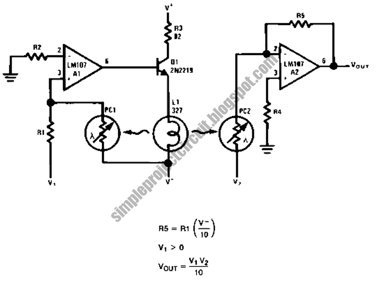 simple project electronic circuit: Simple Analog Multiplier