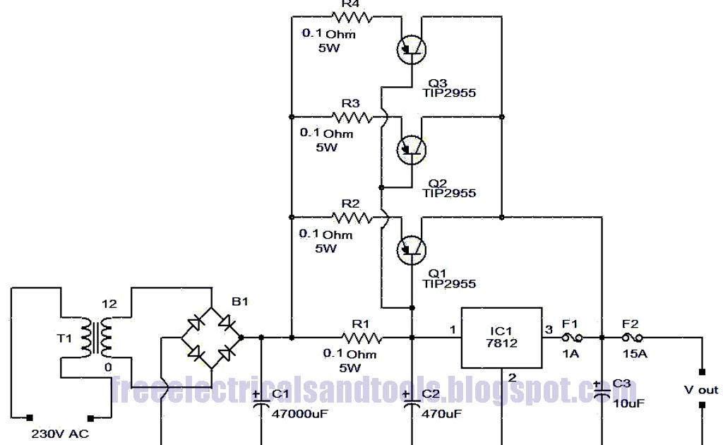 Free Schematic Diagram: 12V/15A Voltage Regulator Circuit