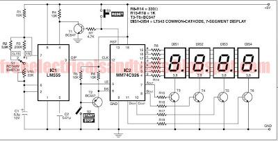 stopwatch-1skema  Digit Segment Display Wiring Diagram on