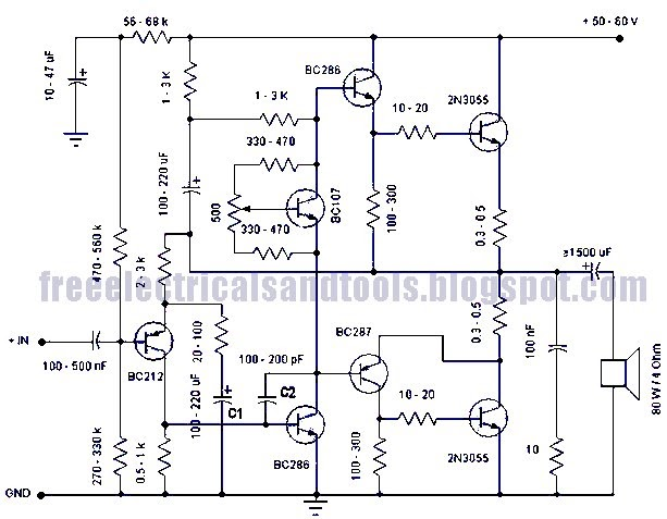 Free Schematic Diagram: 50 Watt Amplifier Circuit Using