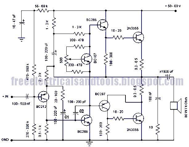 free schematic diagram: 50 watt amplifier circuit using ... 50 watts transistor amplifier schematic diagram 500 watts amplifier