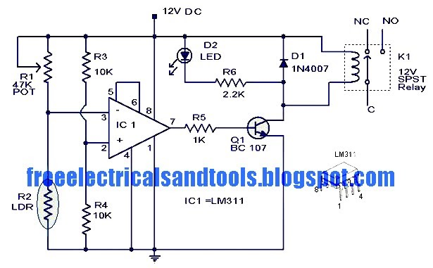 dpdt relay wiring diagram 2002 ford escape stereo circuit panel light activated switch using lm311