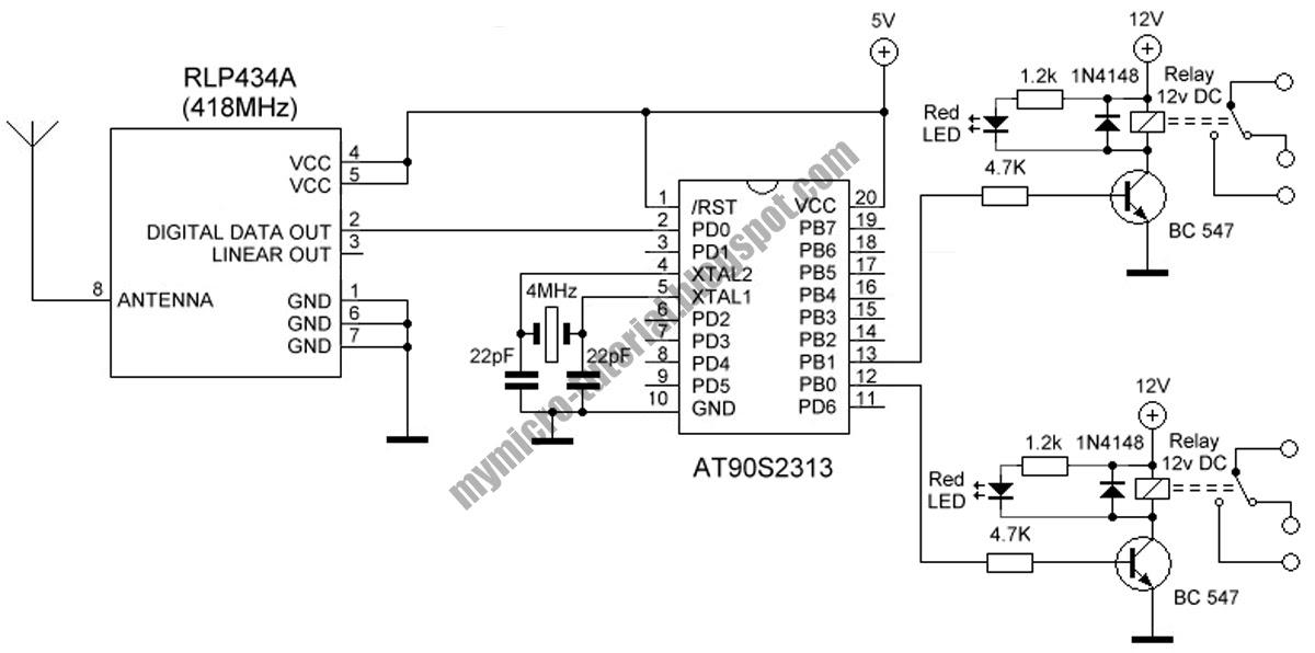 control 2 channel rf remote control receiver using at902313 Mercury Remote Control Wiring Diagram control 2 channel rf remote control receiver using at902313 controller circuit