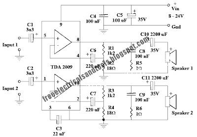 circuit wiring: 10 Watt Stereo Amplifier Circuit Using