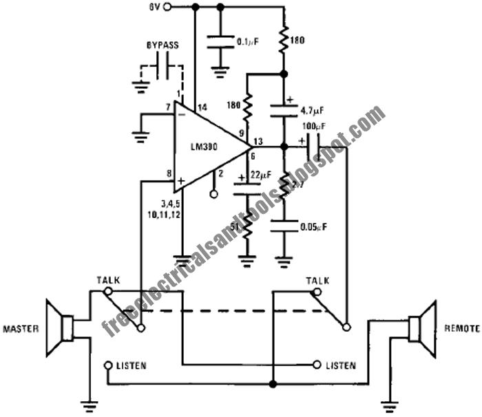 Free Schematic Diagram: Intercom Circuit Using LM390