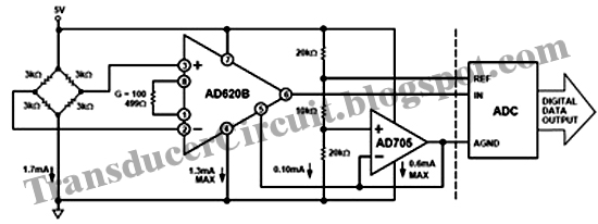 pressure transducer bridge monitor circuit diagram using ad620