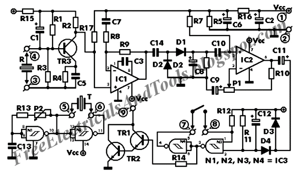 as it has already been stated the circuit consists of an ultrasonic  transmitter and a receiver both of which work at the same frequency