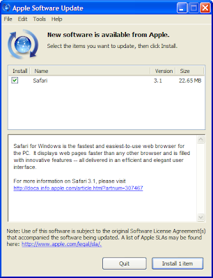 Apple Software Update window with Safari 3.1