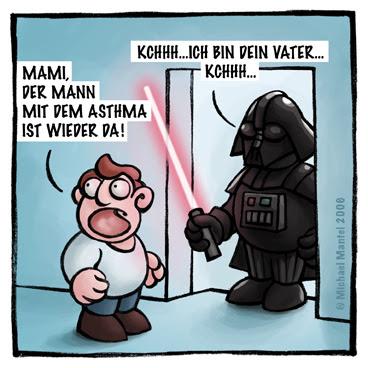 Darth Vader Star Wars Vater Laserschwert Vaterschaftstest  Cartoon Cartoons Witze witzig witzige lustige Bilder Bilderwitz Bilderwitze Comic Zeichnungen lustig Karikatur Karikaturen Illustrationen Michael Mantel lachhaft Spaß Humor Witz