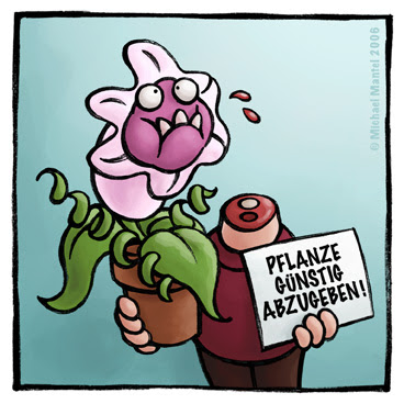 Hannibal fleischfressende Pflanze Fresspflanze abgebissen verfressen gefräig kopflos Kopf ab zu verkaufen g&uumlnstig abzugeben  Cartoon Cartoons Witze witzig witzige lustige Bilder Bilderwitz Bilderwitze Comic Zeichnungen lustig Karikatur Karikaturen Illustrationen Michael Mantel lachhaft Spaß Humor Witz