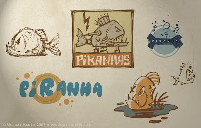 Michael Mantel für die Bilderwumme Your daily dose of illustration Featuring Piranhas, Logos, Icons, Scribbles, Skizzen