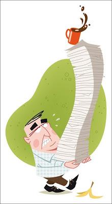 Michael Mantel Illustration Missgeschick Unfall bei der Arbeit Büro Papierstabel Kaffee dumm gelaufen kleiner Mann Retro 2008 Vektor Illustrator FreeHand