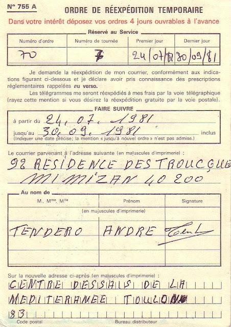 La poste aux armees l 39 ordre de r exp dition n 755 a for Reexpedition temporaire du courrier