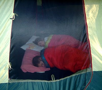kids sleeping in tent