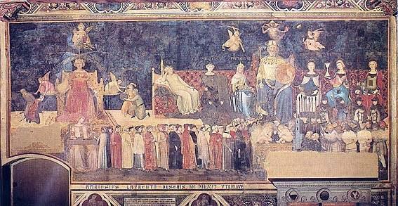 Sala Dei Nove Good Government.Siena The Gothic Dream Ambrogio Lorenzetti Good And Bad