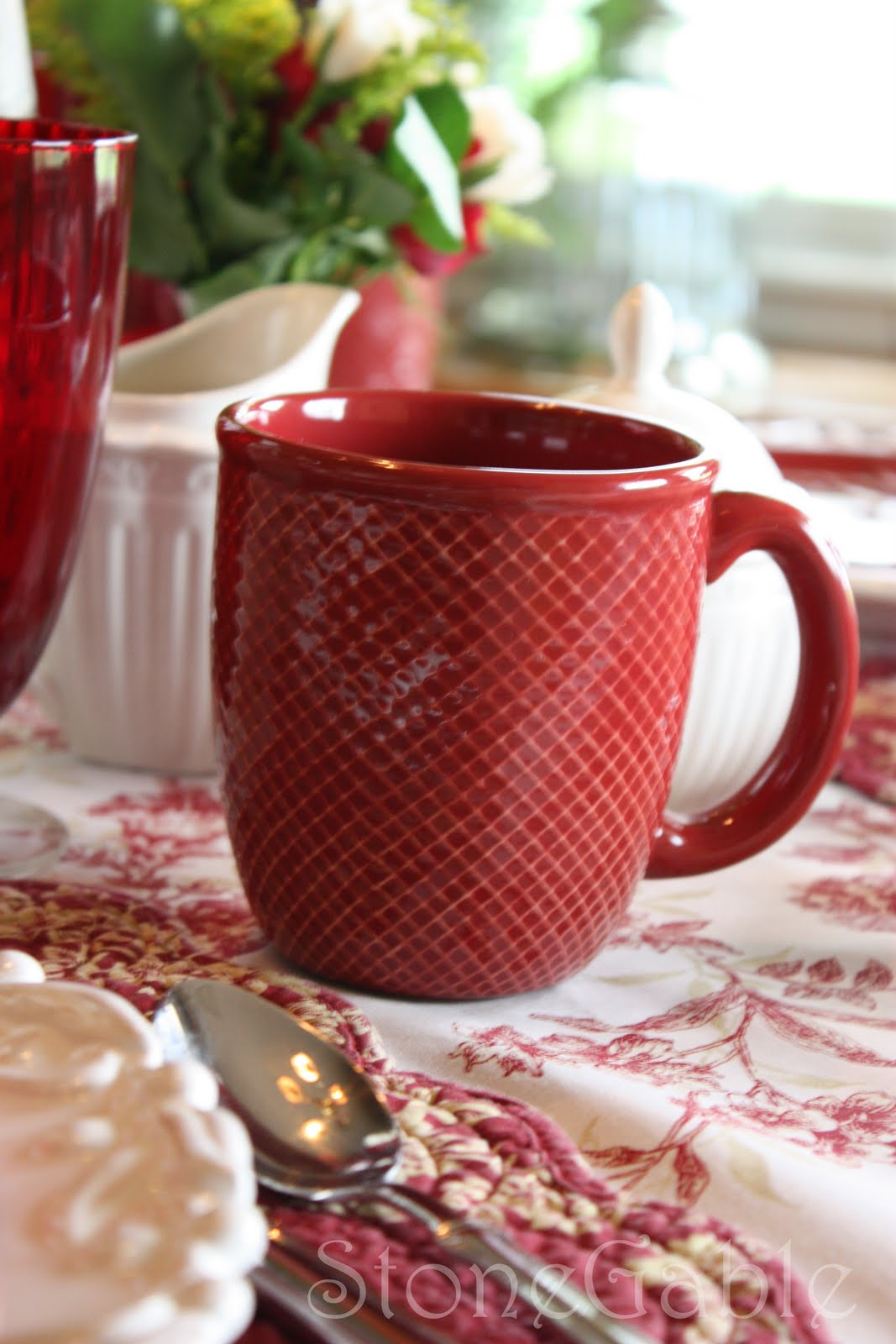 ... (Jaclyn Smith Collection Kmart) match the salad plates. These mugs have a subtle raised diamond checked pattern. Like the salad plates the quality of ... & Roosters Roses and Red - StoneGable