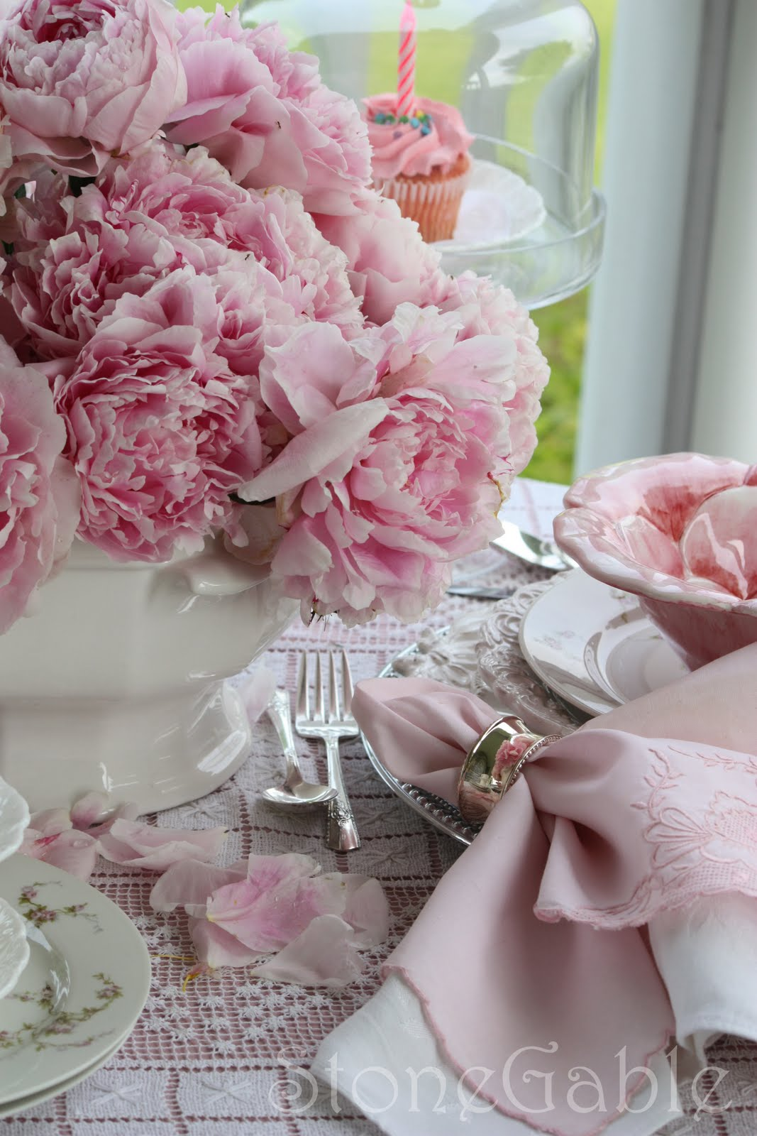 Pink peony tablescape and birthday party stonegable happy birthday pink saturday beverly you have brought so much fun creativity and joy to many bloggers followers and friends heres to many more izmirmasajfo
