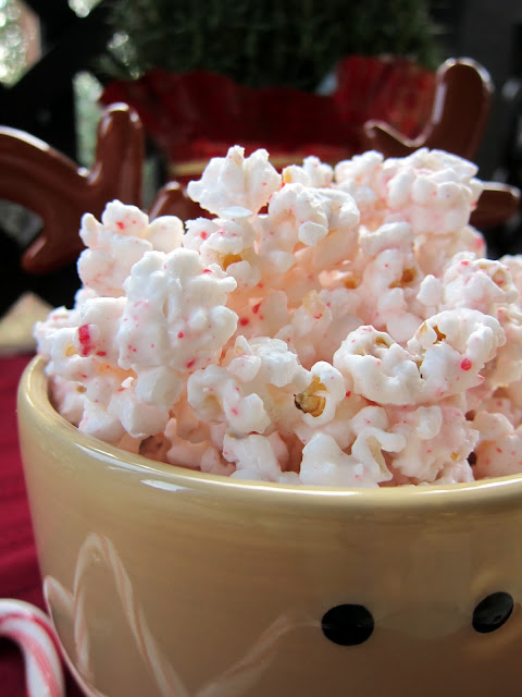 Peppermint Popcorn Bark - popcorn coated with white chocolate and crushed candy canes! So easy and SO good! People go crazy over this stuff!
