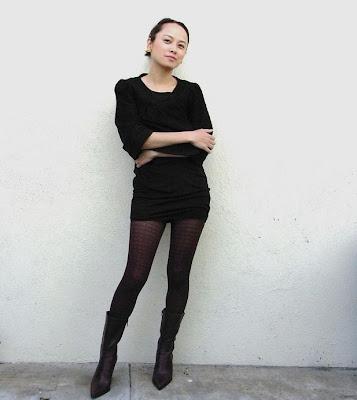 c8a24cc7679f -Saks Fifth Avenue black 3 4 sleeve jacket -black Emporio Armani micro mini  dress -burgundy Chanel printed tights -burgundy Façonnable half boots