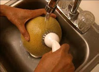 cleaning cantaloupe