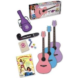 Daisy Rock Pixie Acoustic Pink Sparkle Left Handed Starter Guitar Pack