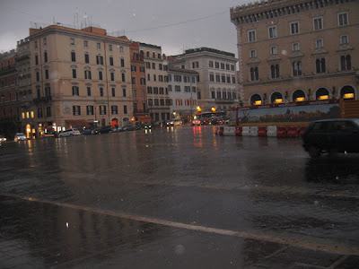 Piazza Venezia in the rain