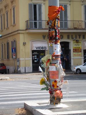 A street side memorial
