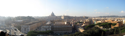 Panorama shot from Castel Sant'Angelo towards Vatican City