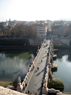 The bridge crossing the Tiber from Castel Sant'Angelo