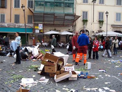 Clean up at Campo di Fiori