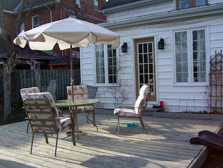 The deck set for cocktails.