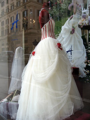 Wedding dress with red bustier
